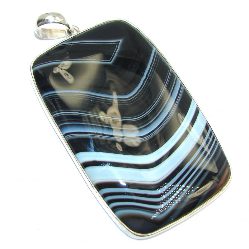 Giant Twilight Zone Beauty Agate Sterling Silver Pendant