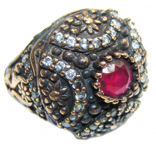Victorian Style Ruby & White Topaz Sterling Silver Ring s. 6