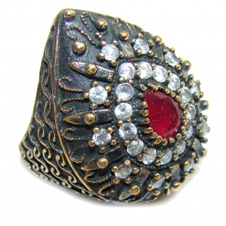 Victorian Style Pink Ruby & White Topaz Sterling Silver Ring s. 6 1/4