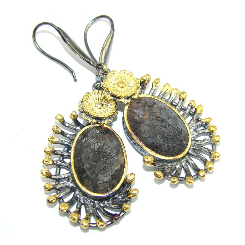 Stunning AAA Black Tourmalinated Quartz, Gold Plated, Rhodium Plated Sterling Silver Earrings / Long