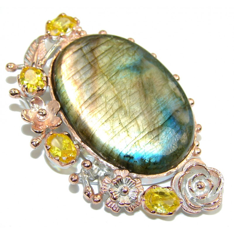 Stunning AAA Blue Fire Labradorite, Rose Gold Plated Sterling Silver Pendant