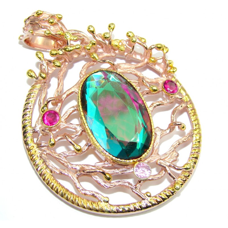 Beautiful Rainbow Quartz, Rose & Gold Plated Sterling Silver Pendant