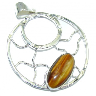Delicate Brown Tigers Eye Sterling Silver Pendant