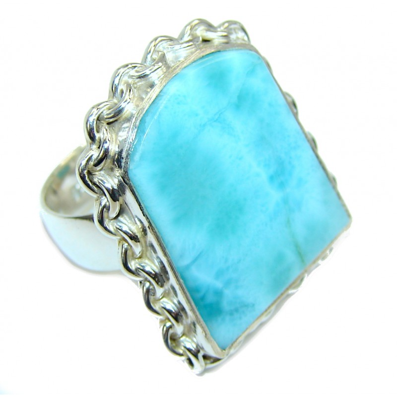 Perfect AAA Blue Larimar Sterling Silver Ring s. 7 1/2