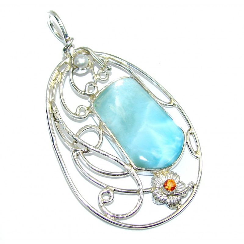 Amazing Light AAA Blue Larimar Sterling Silver Pendant