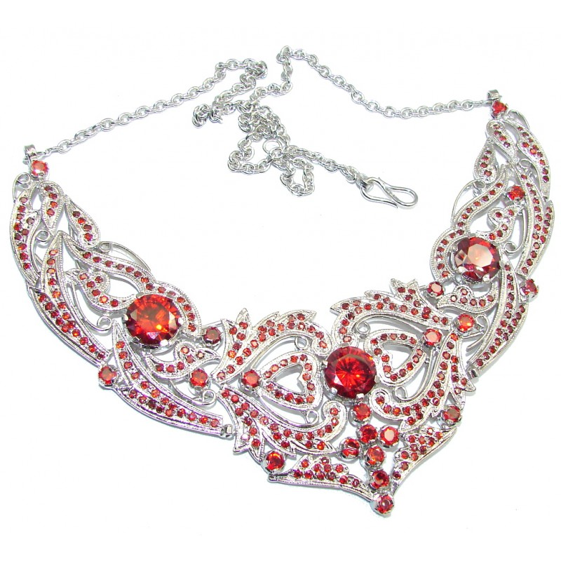 Light Of Love AAA Genuine Red Garnet & White Topaz Sterling Silver Necklace