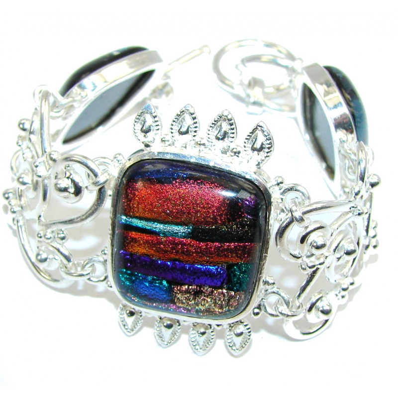 Fashion Dichroid Glass Silver Overlay Bracelet