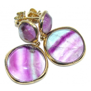 Genuine Purple Fluorite , Gold Plated Sterling Silver earrings