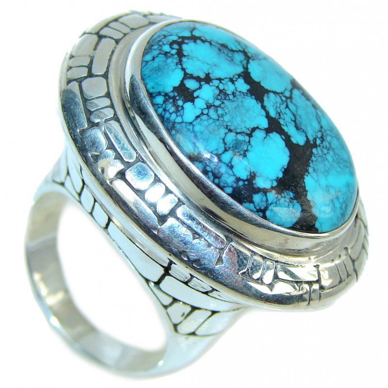 Huge! Fashion Blue Turquoise Sterling Silver Ring s. 9