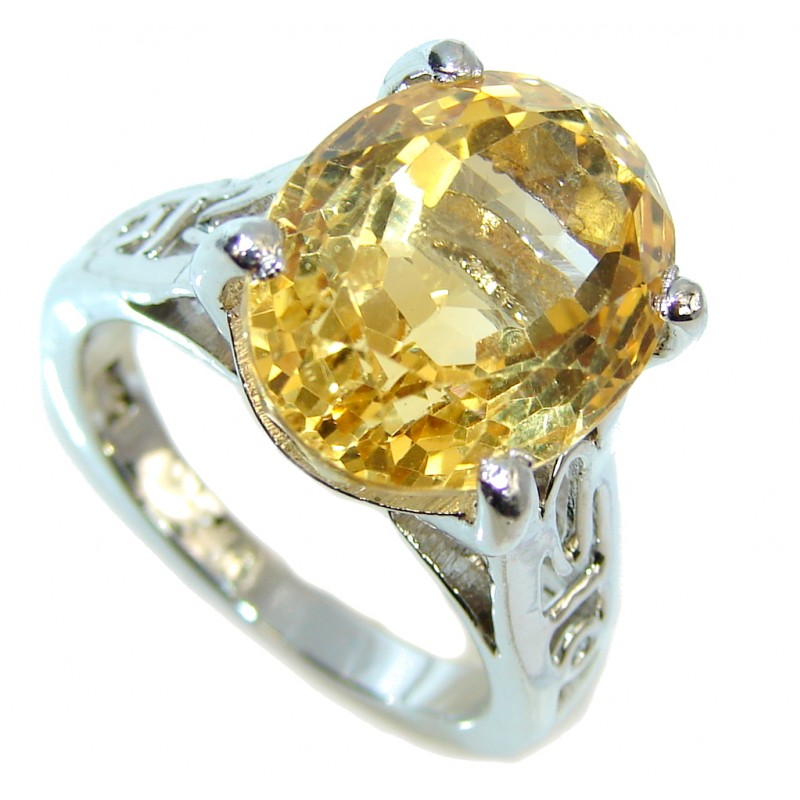 Genuine Yellow Citrine Sterling Silver Ring s. 8 1/4