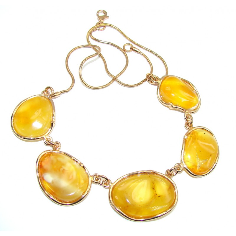Very Elegant AAA Baltic Polish Amber, Rose Gold Plated Sterling Silver necklace