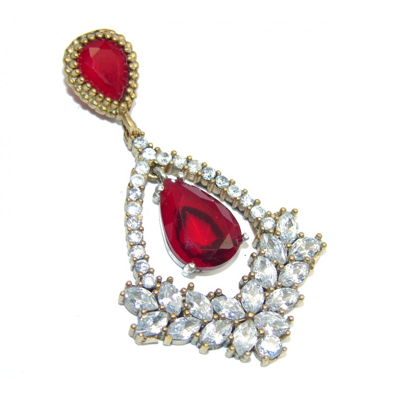 Victorian Style Created Red Ruby & White Topaz Sterling Silver Pendant