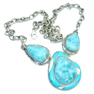 Caribbean Style! AAA Blue Larimar & Blister Pearl Sterling Silver necklace