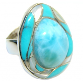 Genuine AAA Blue Larimar Sterling Silver Ring s. 8