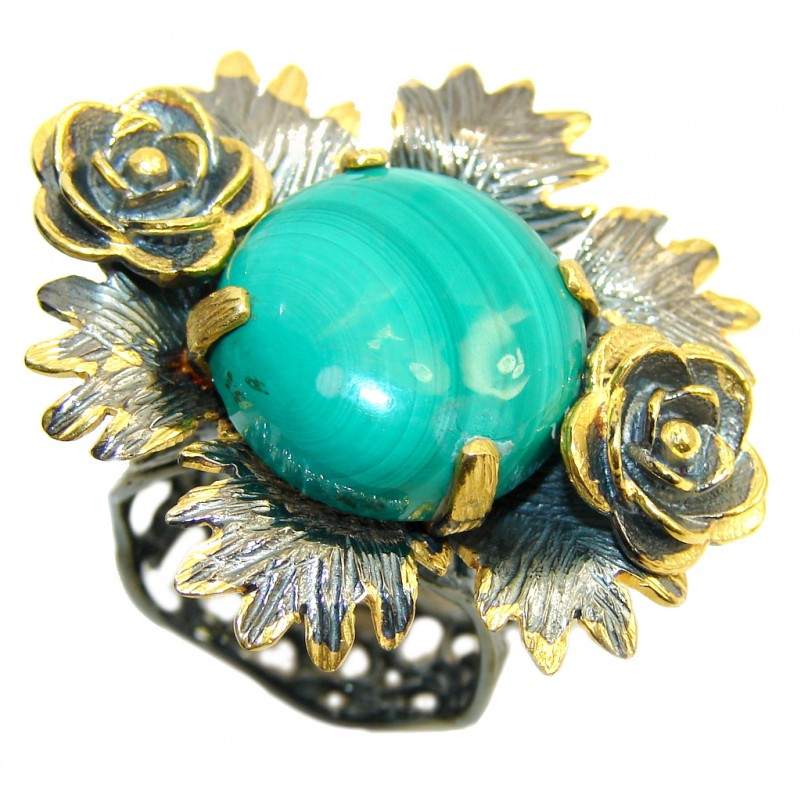 Big! Stunning Green Malachite, Gold Plated, Rhodium Plated Sterling Silver ring s. 8