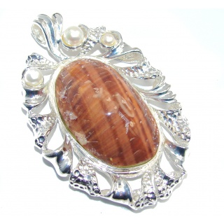 Big! Secret Brown Shell & Fresh Water Pearl Silver Overlay pendant