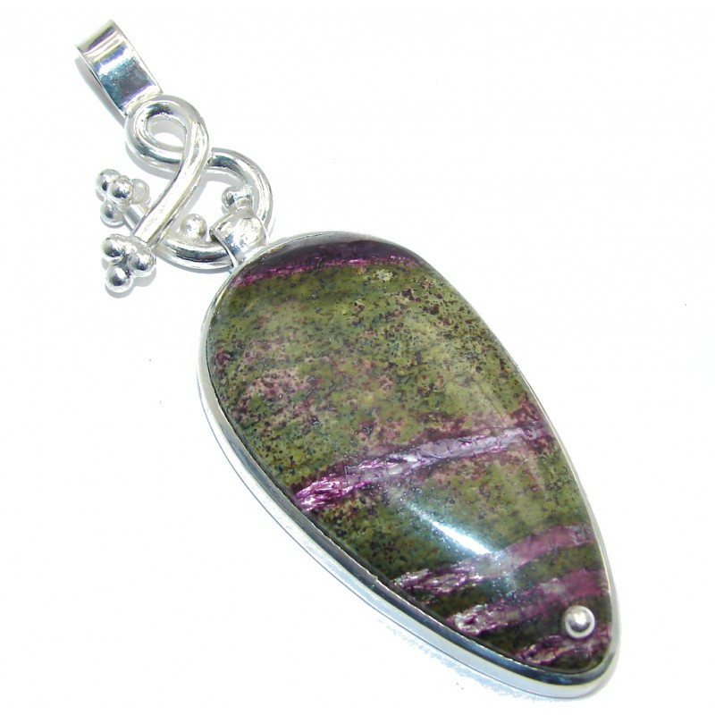 Large! Purple - Green Maw Sit Sit Silver Overlay Pendant