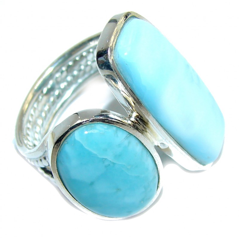 Tropical Glow AAA Blue Larimar Sterling Silver Ring s. 9