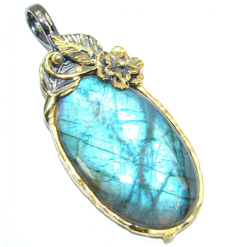 Secret Beauty AAA Fire Labradorite Sterling Silver Pendant