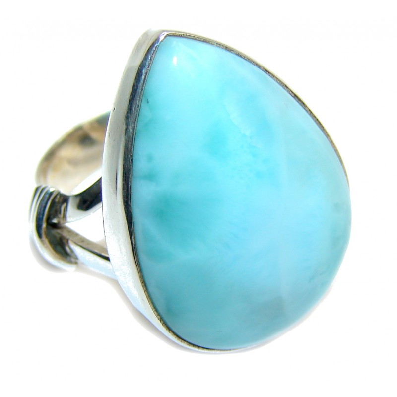 Natural AAA Blue Larimar Sterling Silver Ring s. 7 1/2