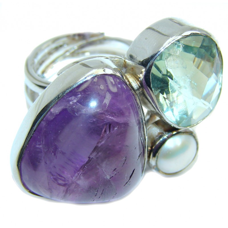 Big! Amazing Green & Purple Amethyst Sterling Silver Ring s. 6 - adjustable