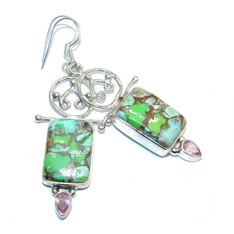 Fresh Island Green Turquoise Sterling Silver earrings
