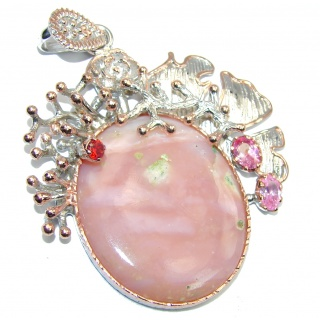 Big! Pink Perfection AAA Pink Opal, Two Tones Sterling Silver Pendant