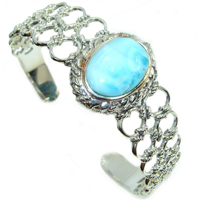 Royal Design Light Blue Larimar Sterling Silver Bracelet / Cuff