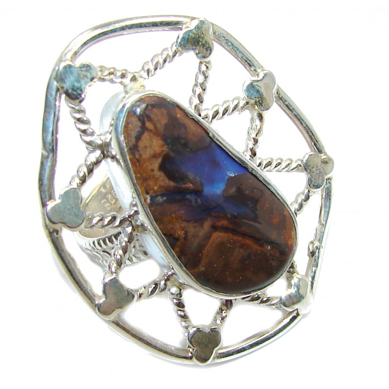 Bi! Classic Boulder Opal Sterling Silver Ring s. 8