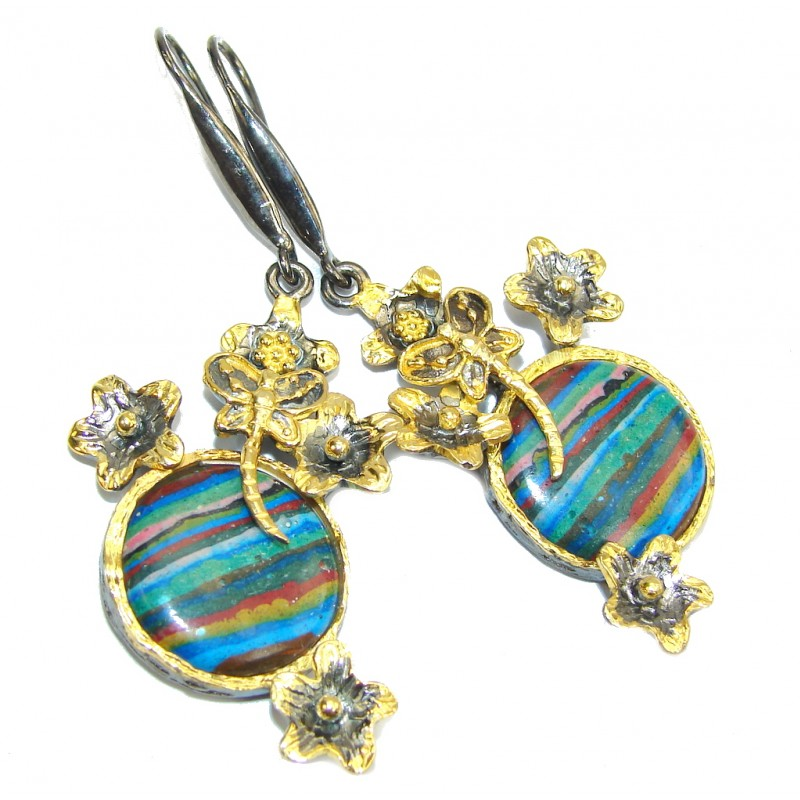 Natural Beauty! Rainbow Calsilica, Gold Plated, Rhodium Plated Sterling Silver earrings