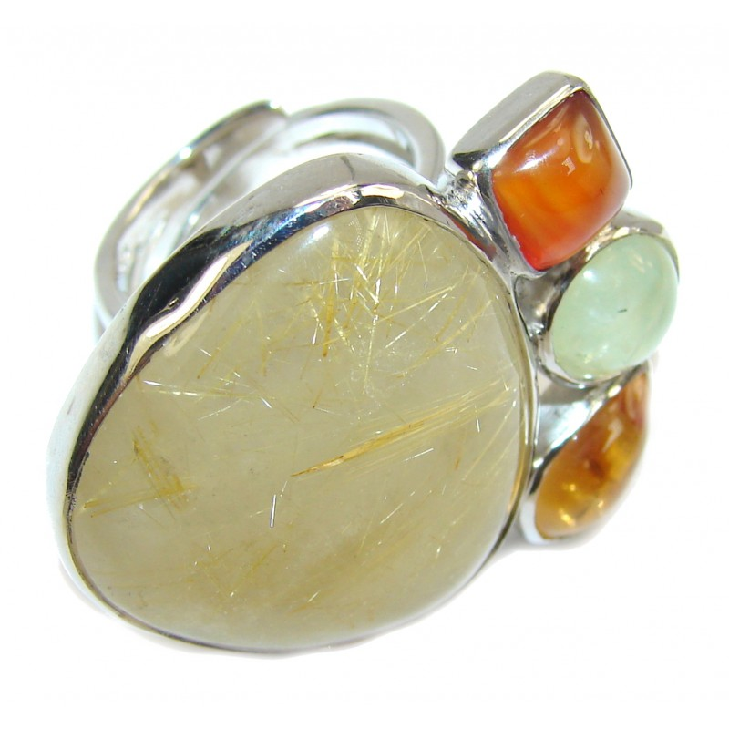 Big! Pale Beauty Golden Rutilated Quartz Sterling Silver ring s. 7- adjustable