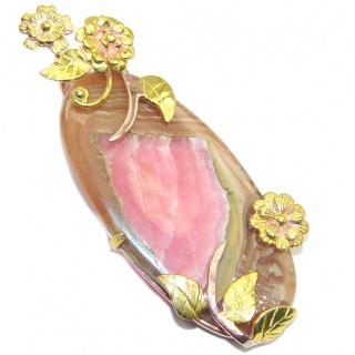 Big! Stunning AAA Pink Rhodochrosite, Two Tones Sterling Silver Pendant