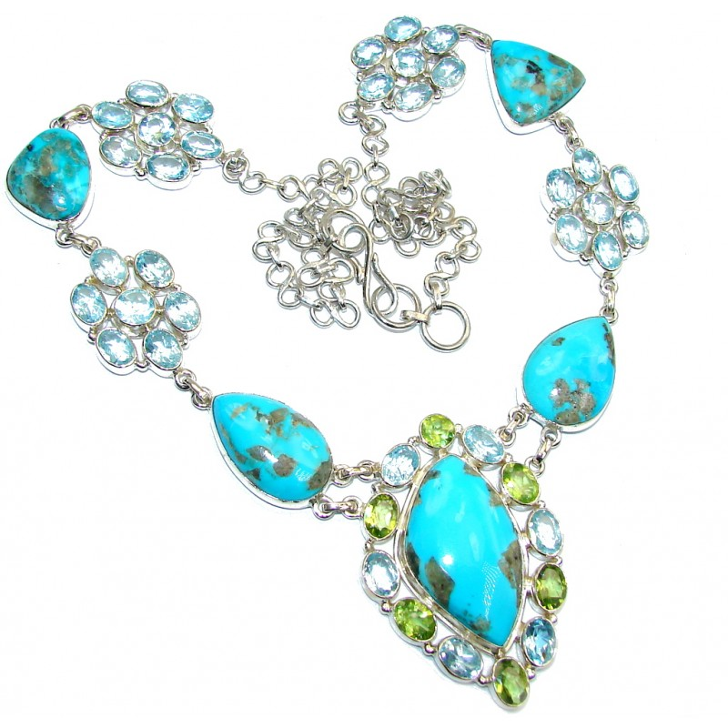 AAA Sleeping Beauty Turquoise Blue Topaz Sterling Silver necklace