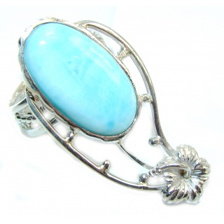 Simple Very Light Blue Larimar Sterling Silver Ring s. 7 1/4