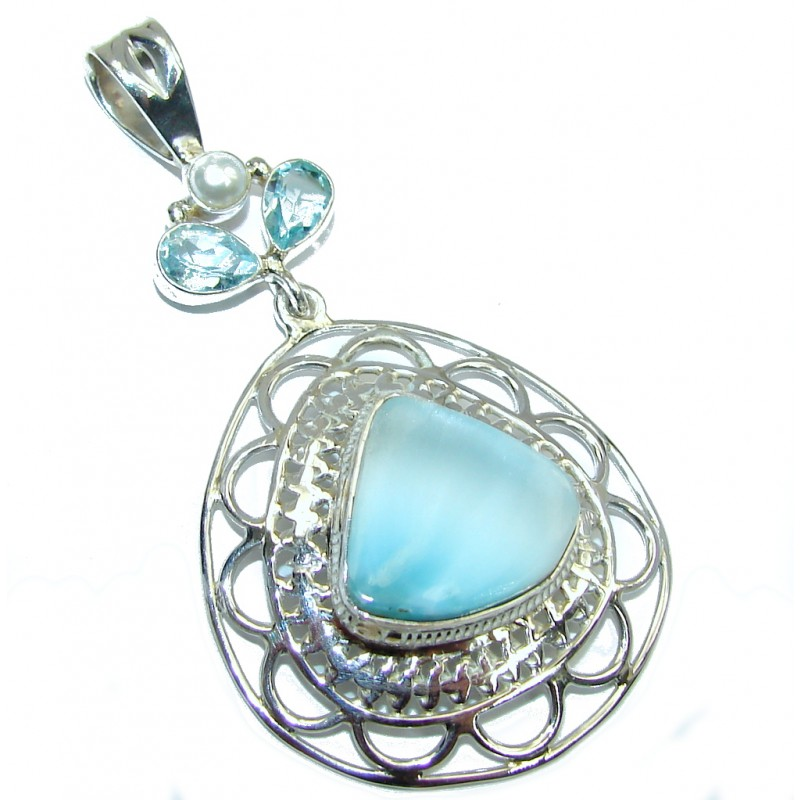 Tropical Style Blue Larimar & Swiss Blue Topaz Sterling Silver Pendant