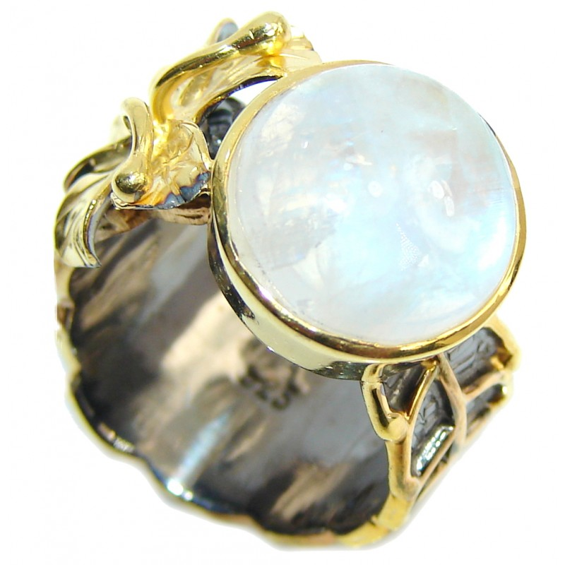 Perfect White Moonstone, Gold Plated, Rhodium Plated Sterling Silver Ring s. 6