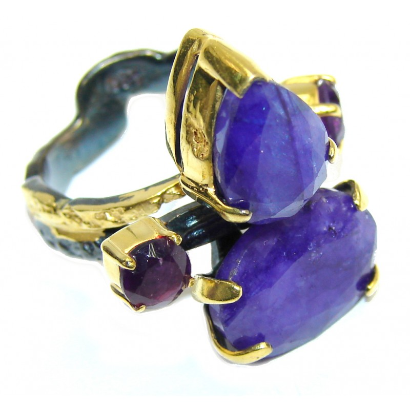 Perfect Blue Sapphire, Gold Plated, Rhodium Plated Sterling Silver Ring s. 6