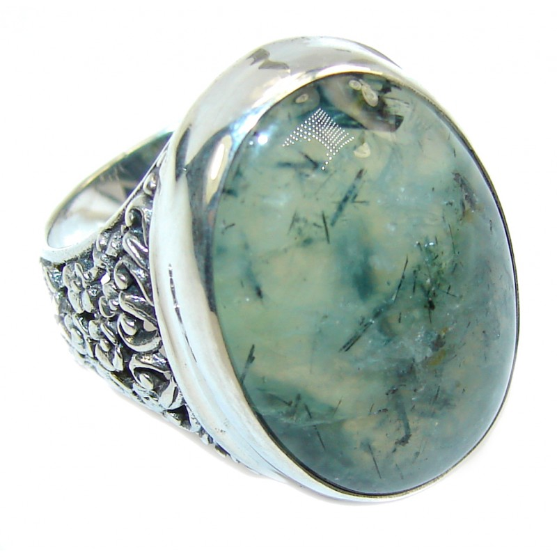 Supernova AAA+ Green Moss Prehnite Sterling Silver ring; s. 9