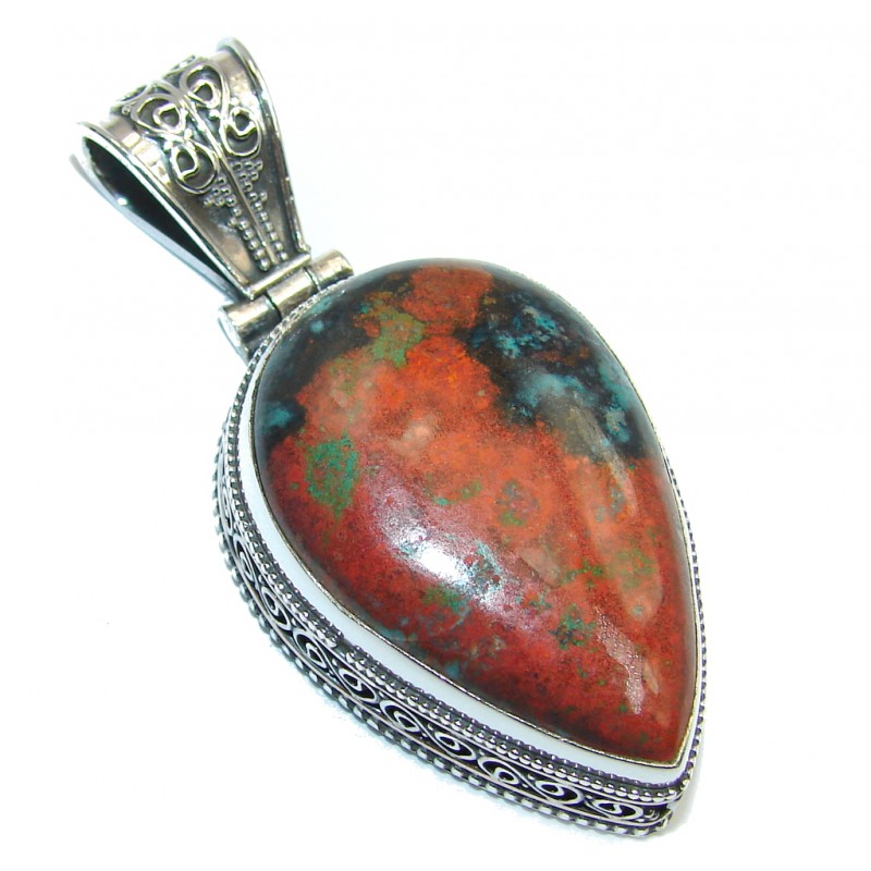 Simple Beauty Red Sonora Jasper Sterling Silver Pendant