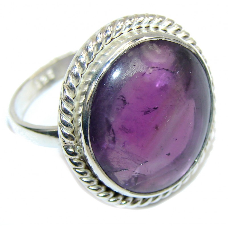 Simple Purple Amethyst Sterling Silver ring s. 9