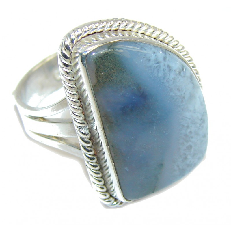 Simple Gray Agate Sterling Silver Ring s. 9