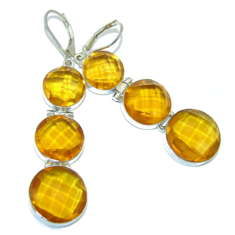 Summer Beauty Created Yellow Citrine Sterling Silver Earrings / Long