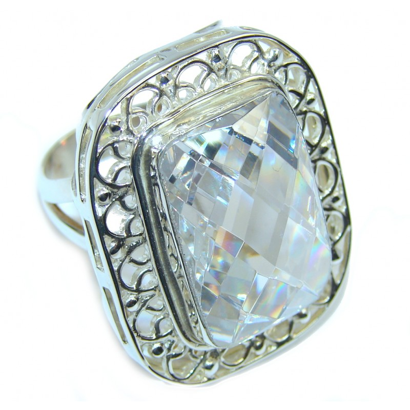 Large! Very Elegant White Cubic Zirconia Sterling Silver Ring s. 7 1/2
