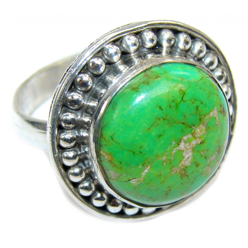Simple Green Turquoise Sterling Silver Ring s. 9 1/4