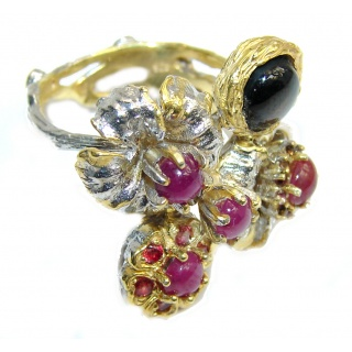Floral Garden AAA Pink Ruby, Two Tones Sterling Silver ring; s. 9