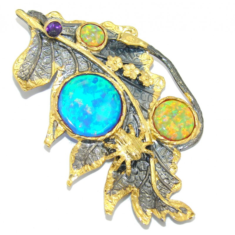 Magic Leaf! AAA Japanese Fire Opal, Gold Plated, Rhodium Plated Sterling Silver Pendant