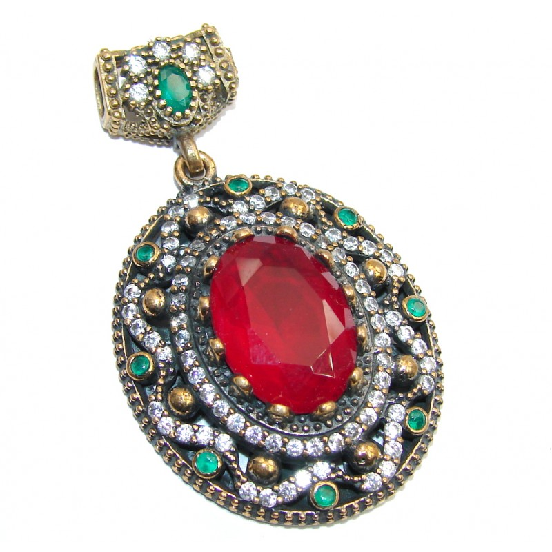 Victorian Style Created Ruby & Emerald & White Topaz Sterling Silver Pendant