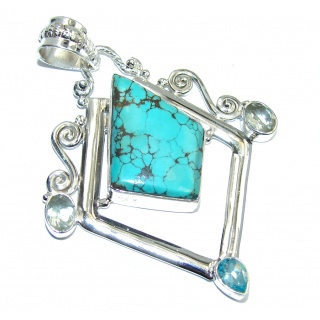 Secret Beauty Blue Turquoise Sterling Silver Pendant