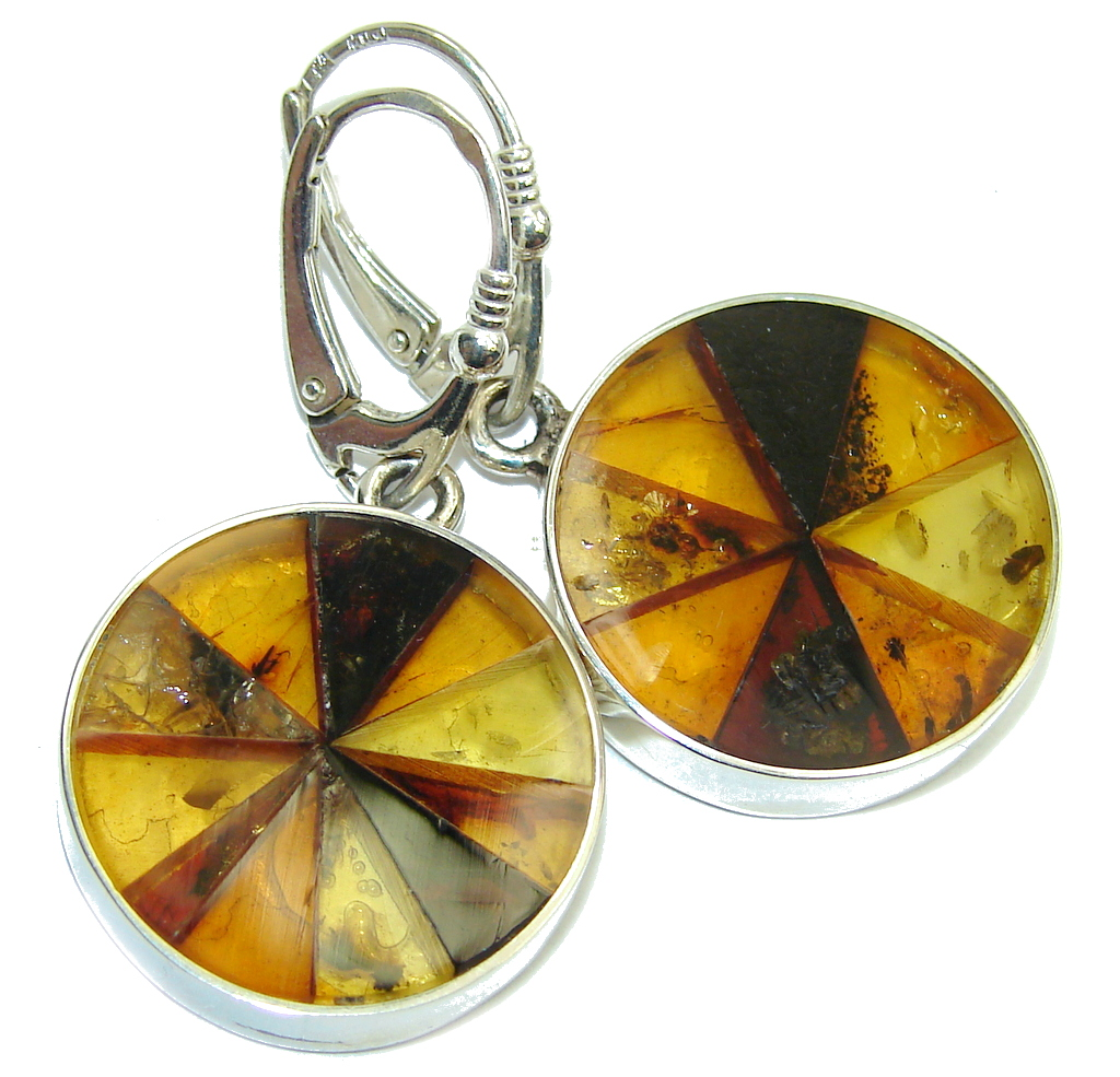 Gorgeous Polish Baltic Amber Handcrafted Mosaic Sterling