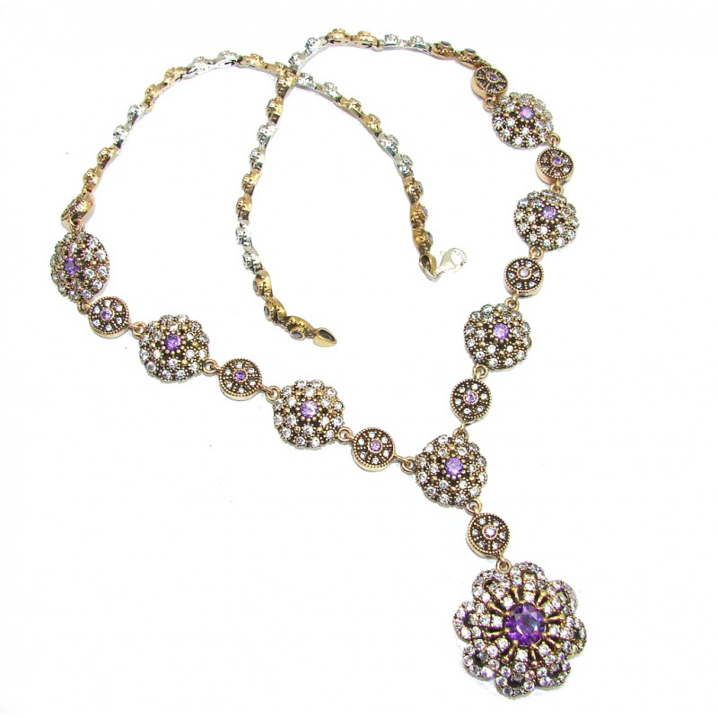 Victorian Style! Created Alexandrite & White Topaz Sterling Silver necklace